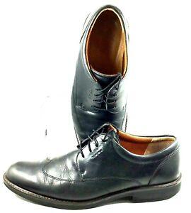 ECCO-Biarritz-Oxford-Men-039-s-EUR-44-US-10-10-5-Black-Leather-Wingtip-Lace-Up-Shoes