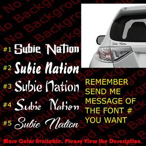 Details About Subie Nation Vinyl Sticker Car Windows Decal Wrx Impreza Rally Rc117