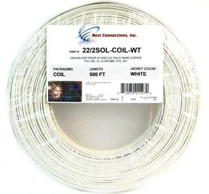 White 22 ga gauge awg 2 conductor solid copper alarm wire security image is loading white 22 ga gauge awg 2 conductor solid greentooth Images