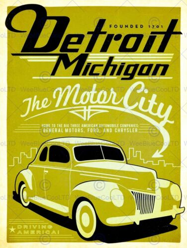 TRAVEL TOURISM PROMOTIONAL DETROIT MOTOR CITY AUTOMOBILE USA ART PRINT BB9933