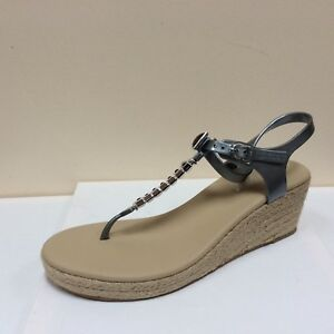 Holster grey embellished toe post wedged sandals UK 8/EU 41 RRP £69.99 BNWB
