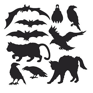 image is loading 10 black animals silhouettes cutouts halloween party decorations - Halloween Crows