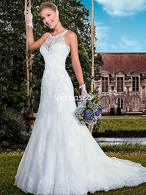 White/Ivory New Lace Wedding Dress Bridal Gown Custom Size 6 8 10 12 14 16 18 ++
