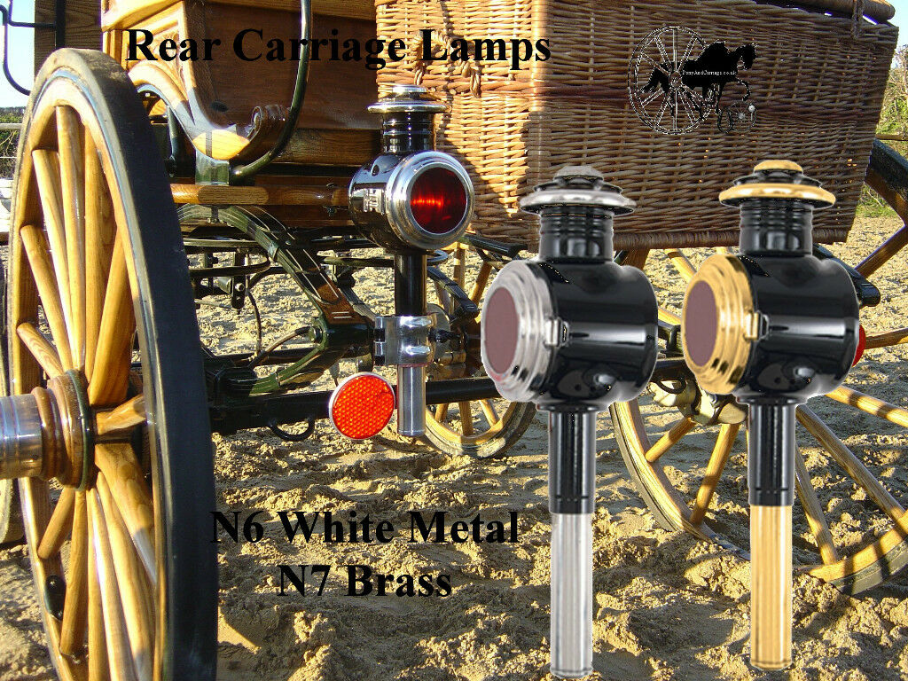 Rear Horse Carriage Lamp Style Brass N7 White Metal N8