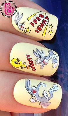 NAIL ART WRAPS WATER TRANSFERS STICKERS DECALS SET BUGS BUNNY & TWEETY PIE #522