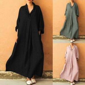 Women-Plus-Size-Long-Sleeve-V-Neck-Maxi-Dress-Baggy-Kaftan-Casual-Loose-Dresses