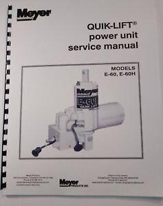 Details about Meyer Snow Plow Pump Service Manual E60 & E60-H Models on