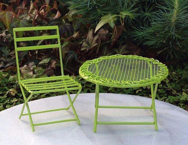 Exceptionnel Miniature Dollhouse FAIRY GARDEN Furniture ~ Mini Green Metal Table U0026 Chair  Set