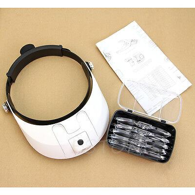LED Lamp Light Headband Headset Head Jeweler Magnifier Magnifying Glass Loupe