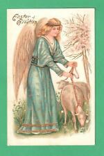 VINTAGE EASTER POSTCARD ANGEL WITH LAMB ON LEASH FLOWERING TREE
