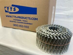 """3,000 15 Degree Coil Nails 2 3//16/"""" Inch Hot Dip Galvanized Ring Shank"""