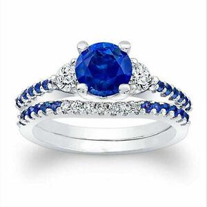 1.61 Ct Round Cut Blue Sapphire Ring 14K White Gold Diamond Band Set Size M N K