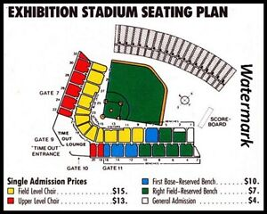 Mlb 1980s Toronto Blue Jays Seating Price Chart Color 8 X 10