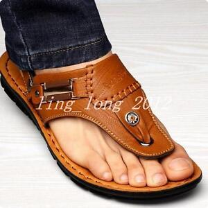 top men's Beach chic PU leather thongs comfy flip flops sandals hot casual shoes