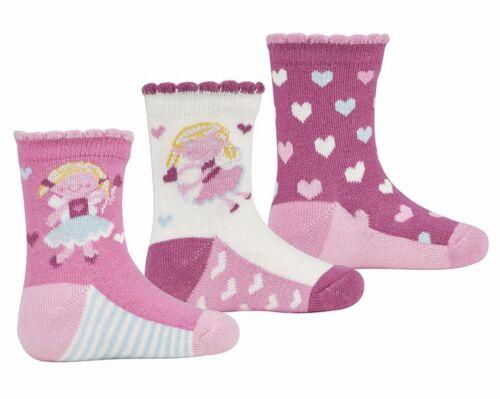 3 Pairs Baby Girl Fairy /& Heart Socks Pack Of 3 Design Socks 0-0 0-2.5 3-5 4B537