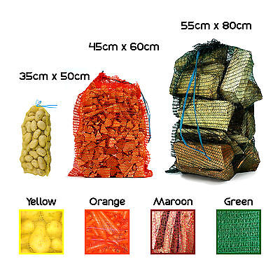 5-30kg Net Woven Sacks Vegetables Logs Kindling Wood Log Mesh Bag 3 Sizes MAROON