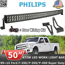 50INCH 672W Curved LED Light Bar+Mount Bracket Fit For Ford F250 F350 Super Duty