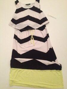 My-Michelle-Girls-Pop-Over-Maxi-Dress-Holiday-Size-8-10-14-Black-White-Chevron