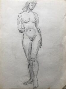 Dibujo-Esbozo-Studie-de-Pie-Mujer-Desnudo-Femenino-Desnudo-Frente-View-25x33cm
