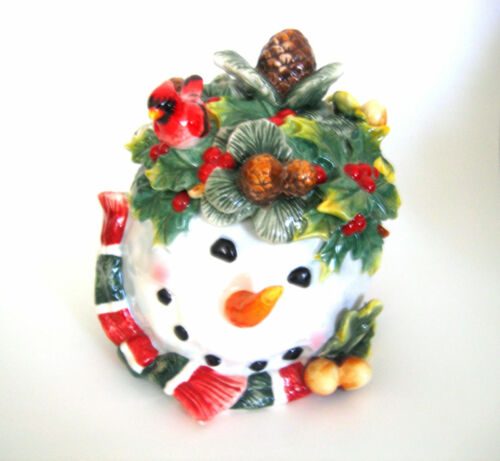 NEW Snowman Cookie Jar Canister Ceramic Winter Christmas Carrot Nose Bird Holly