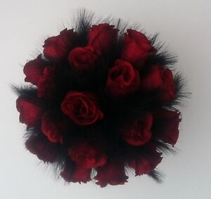 Image Is Loading Stunning Red Roses Black Feather Artificial Wedding Bouquet