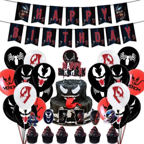 "12/"" Venom Birthday Party Balloon Supplies Decoration Cupcake Toppers Cake Banner"