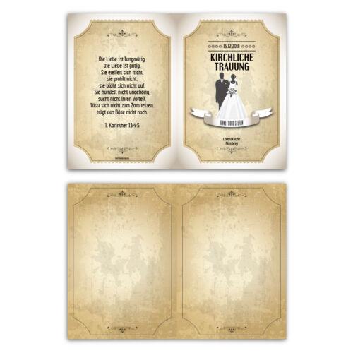 Kirchenheft mariage individuellement Pliante Carte-Retro Vintage mariés en blanc