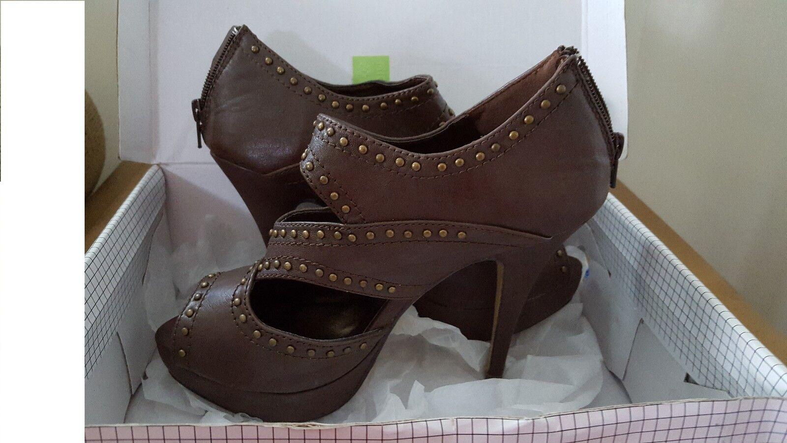 MISS ME schuhe Größe 8.5 braun stilettos studded Stiefelies NEW box Rock & roll style