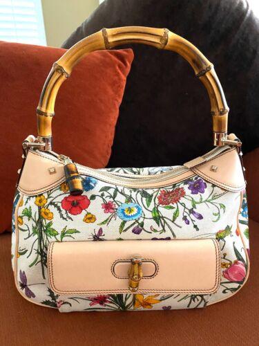 Gucci Flora Floral Canvas & Bamboo Top Handle Bag