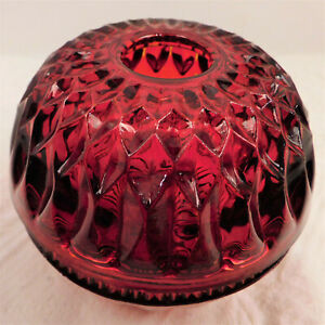 Vintage-1970s-Indiana-Glass-Red-Mount-Vernon-2409-Candle-Bowl-Lamp-Discounted