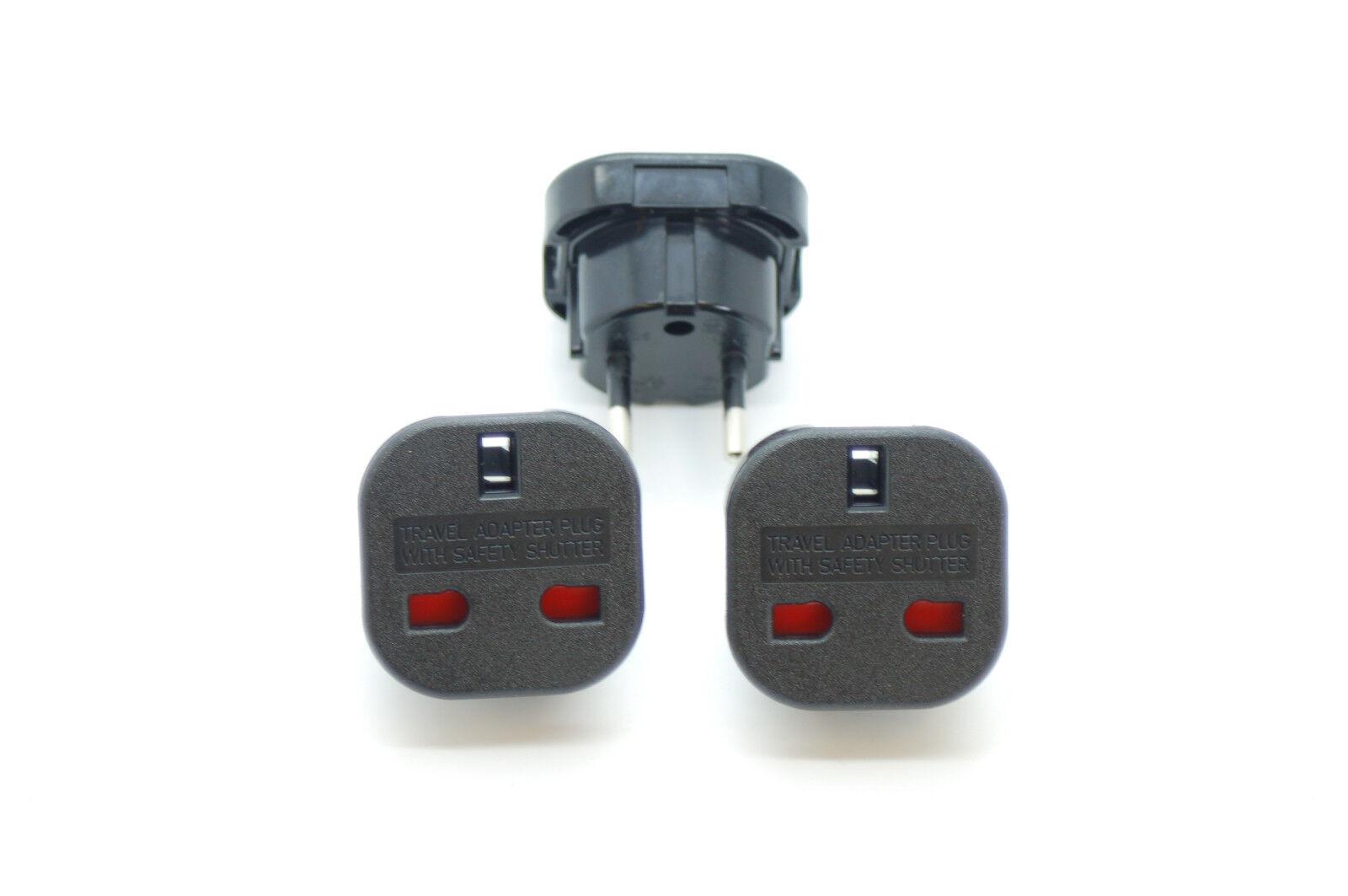 3 pièces Royaume-Uni Royaume-Uni Royaume-Uni à l'UE 2 Pin Power Plug, Travel Wall Adaptateur, Fire Proof, Certifié CE 79134e