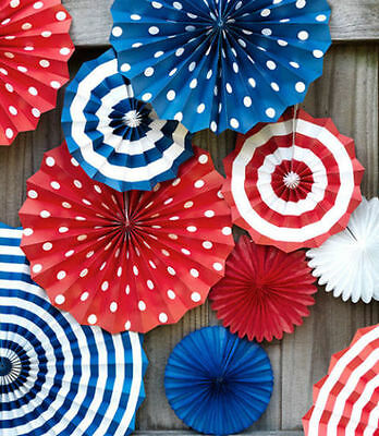 Set of PATRIOTIC hanging PAPER FANS, 4th of July, party decorations