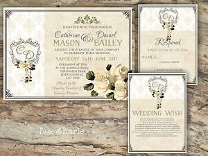 PERSONALISED-RUSTIC-DAMASK-amp-IVORY-ROSE-WEDDING-INVITATIONS-PACKS-OF-10