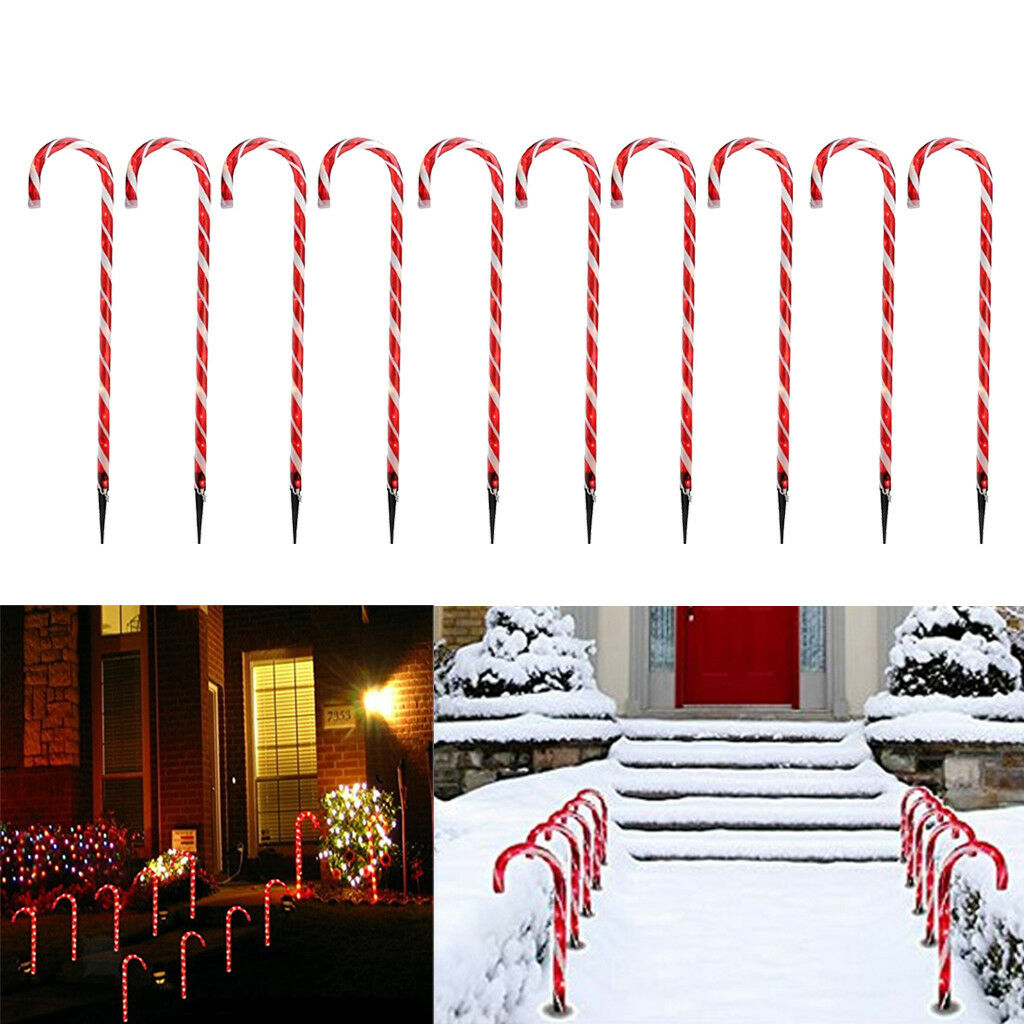 10x Solar Power Xmas Christmas Pathway Markers --Holiday Party Lighting Lamp