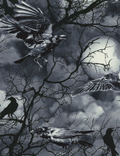Fat Quarter Wicked Ravens Halloween 100/% Cotton Quilting Fabric Black Grey