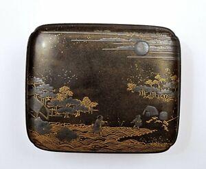 1900's Japanese Makie Wood Lacquer Box Chrysanthemum & Figure Village Scene