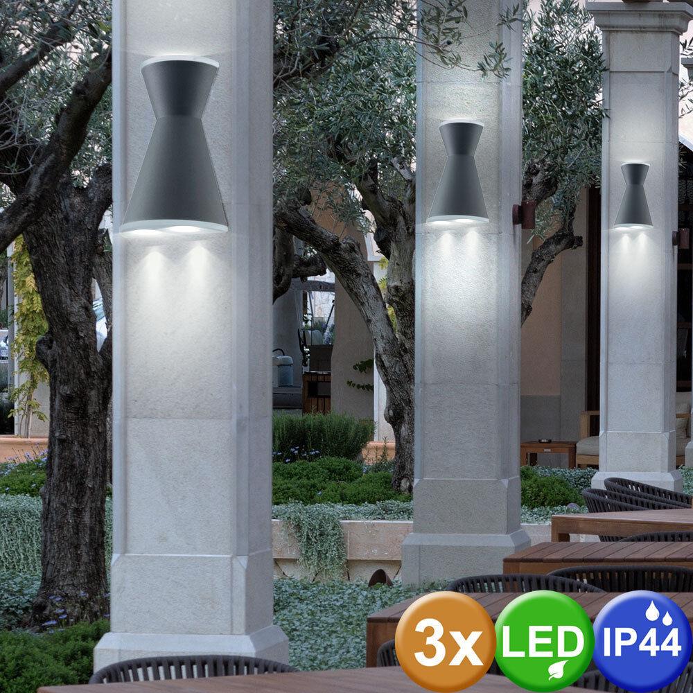 3er Set LED Parojo Lámparas Terraza Up&Down Foco Jardín Aluminio Exterior Hof