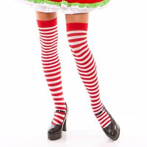 7f094dabc0363 Image is loading Red-White-Horizontal-Striped-Thigh-High-Stockings-Candy-
