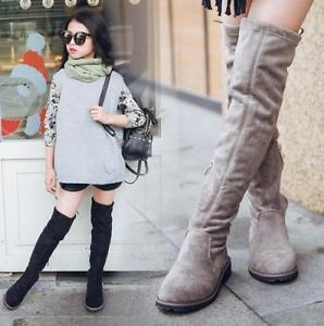 kids girls suede leather over knee high boots slim stretch
