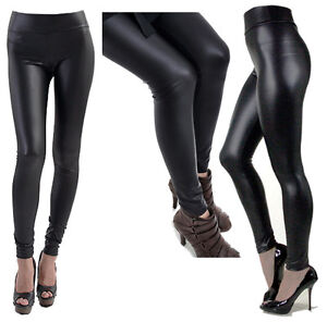 ed3aacbcaa18f Details zu A-Express® HIGH WAIST Wet Faux Leather Look Matt Leggings  Jeggings Tight Pants