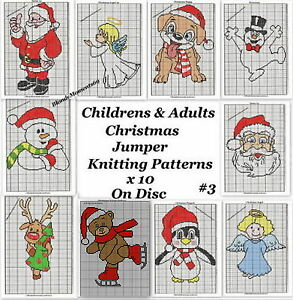 Knitted Sweater Patterns Free : Childrens & Adults Christmas Jumper Knitting Patterns X10 on CD Disc #3 I...