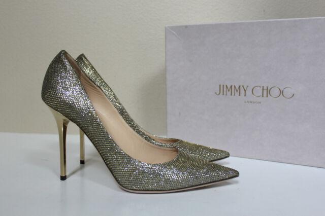 59593ef1294 sz 8.5.  38.5 Jimmy Choo Abel Gold Light Bronze Glitter Point Toe Heel Pump
