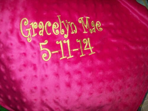 hot pink minky dot soft personalized baby toddler 36x30 blanket