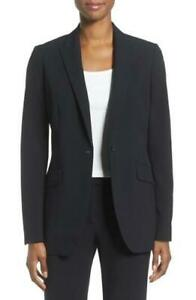 Anne Klein Womens Blazer Black 16 One-Button Stitch-Trim Peak Lapel $119 774