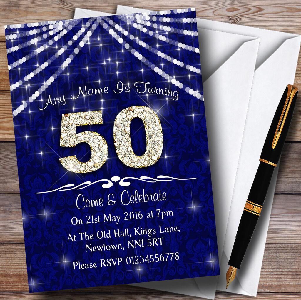 Cinquantesimo Navy blu blu blu & bianca Bling Sparkle Festa di Compleanno Inviti Personalizzati fd3fba