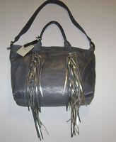 Cavalcanti Italy Lead Grey Leather Fringe Convertible Shoulder Bag