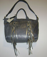 Cavalcanti Italy Lead Grey Leather Fringe Convertible Shoulder Bag
