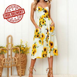 b10f8b4370f Image is loading Women-Summer-Sunflower-Print-Spaghetti-Straps-Sexy-Tie-