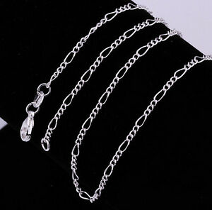 5PCS 16-30inch jewelry 925 Silver Figaro Chain Necklace For Pendant Wholesale