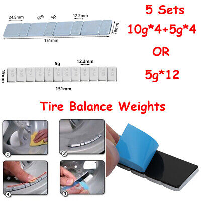 5x 60g Adhesive Tire Wheel Balance Weights Stick Block Strip Fr Motorcycle /& Car